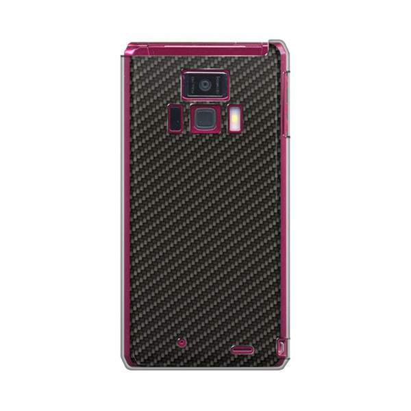 docomo REGZA Phone T-01D /Disney Mobile on docomo F-08D 共用 スマホケース【UB963 ブラックカーボンパターン (クリアベース)】
