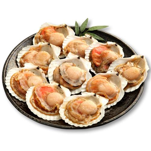ホタテ殻付き片貝10枚北海道産ほたて貝殻付ひも貝柱帆立BBQバーベキューギフト
