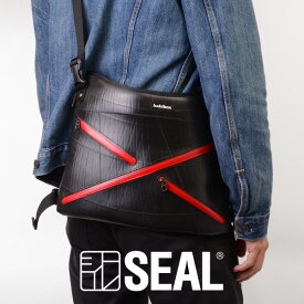 【先着イベント開催中!】 X-bag ショルダー メンズ SEAL シール ファスナー付き A4 ショルダーバッグ 防水 廃タイヤ タイヤチューブ 人気 日本製 黒 プレゼント