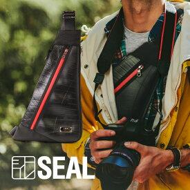 【P10倍 4/1だけ】 フラット ワンショルダーバッグ メンズ SEAL シール バッグ ボディバッグ 防水 耐水 薄型 スリム スマホ 廃タイヤ タイヤチューブ 人気 日本製 黒 プレゼント あす楽