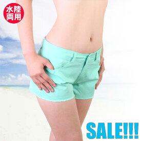 【あす楽】(パケット便送料無料)Ice Cream Sport 着たまま入れる☆カラーウォーターデニム・UPF50+(レディース水着)9320