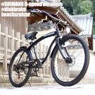 ◆ビーチクルーザー◆シマノ6段変速◆極太フレーム◆砲弾型ライト付◆ブラック◆