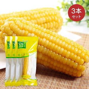 糯玉米 3本セット もちもちとうもろこし 黄もちとうもろこし 糯玉米棒 黄糯玉米 調理済み 温めるだけ 真空パックコーン 中華食材 電子レンジOK【4573437460250】