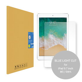iPad 9.7 インチ 第6世代 / 第5世代 2018 / 2017 ガラスフィルム ブルーライトカット 92% カット 気泡防止 気泡ゼロ キズ防止 硬度9H 薄型 フィルム 飛散防止 ラウンドエッジ アイパッド タブレット 目に優しい