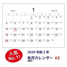 (メール便不可)シーキャッチカレンダー2020年各月カレンダー(無地)A3(297×420mm)