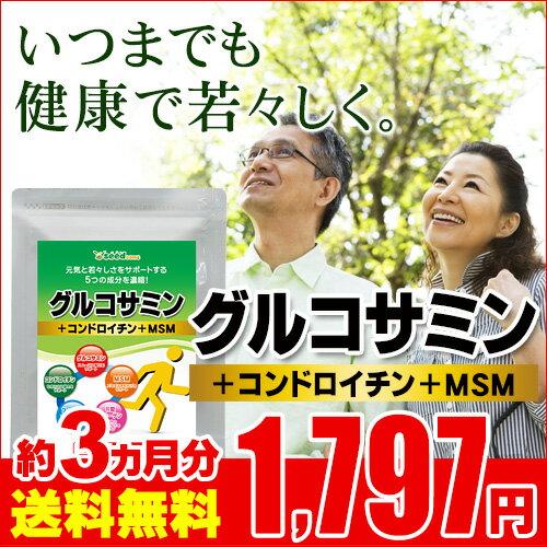 2型コラーゲン配合グルコサミン&コンドロイチン&MSM 約3ヵ月分 【seedcoms_D】3D