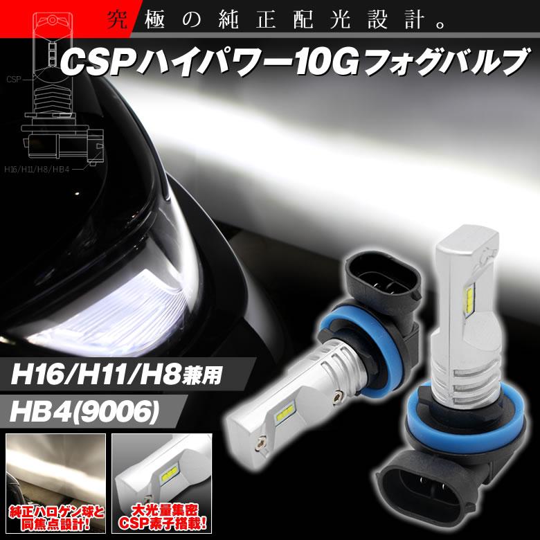 【価格改定しました!】CSPハイパワー10G LEDフォグバルブ 6500k H11 H16 H8 HB4 9006 led フォグランプ 大光量集密 CSP素子搭載 HIACE ハイエース アクア AQUA プリウス VOXY アルファード ヴェルファイア など