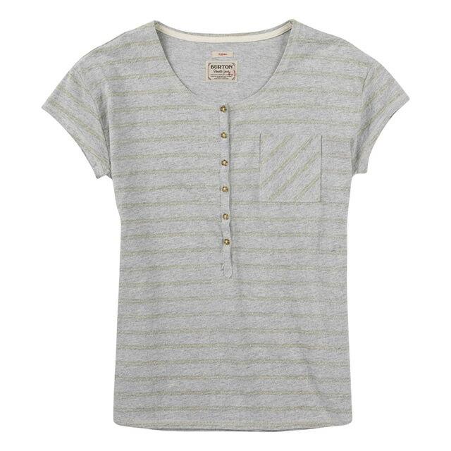 【バートン】BURTON レディースTシャツ Women's Salvador Short Sleeve Tee:Dove Heather Hatch Stripe