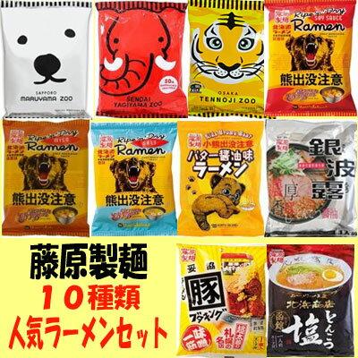 藤原製麺 10種類人気ラーメンセット【インスタント】【袋麺】 【送料無料】