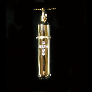 お守りカプセルチェーン 十字架入 ゴールド・クリアー遺骨ペンダント ペンダント カプセル ネックレス コンパクト 手元供養 御遺骨 分骨