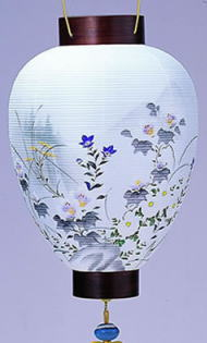 盆提灯 吊り提灯 壺型提灯天上片瀬紫檀(受皿付)電装付