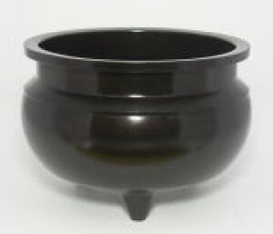香炉 机上香炉 線香立て 前香炉 黒光色 真鍮 [仏具 香炉3.0号 黒光色] 線香を立てる道具 仏壇用