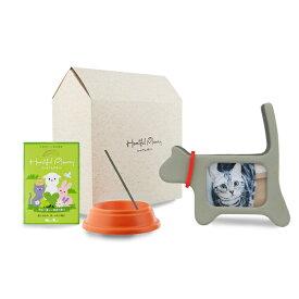愛猫のご供養に。ハートフルメモリーセット エンジェル・キャット 猫 供養 セット 写真立て 香皿 お線香
