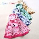 4枚組◆かわいいクマ柄のドレスタオルは4枚組で、高級刺繍仕上げ+やわらか無撚糸と超吸収ガーゼ素材のコンビネーショ…