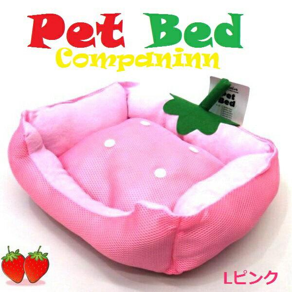 猫 ベッド 夏 かわいいイチゴ◆夏の ペットベッド 横幅50cm◆通気性のよいメッシュ素材◆50x35x15