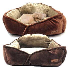 【おまかせ便で送料無料】ペットベッド 犬 猫 ベッド 冬 ドーム 犬 背もたれ付き 角型 冬の ペットベッド たっぷりと中綿増量で横幅60cmの大型 マイクロ スゥエード×内側ボアフリースOS155200