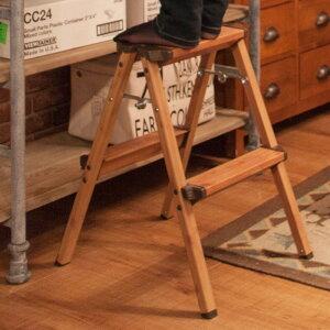 ステップスツール 2段   脚立 はしご 梯子 踏み台 作業台 ステップ チェア 折りたたみ おしゃれ チェアー シンプル 木目調 北欧 足場 ウッド調 掃除 インテリア 洗車 持ち運び 軽量 スツール