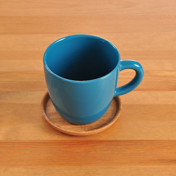 ロールストランド(ホガナス・ケラミック) コーヒーマグ 330ml & ウッドソーサー シーグリーン グロッシー