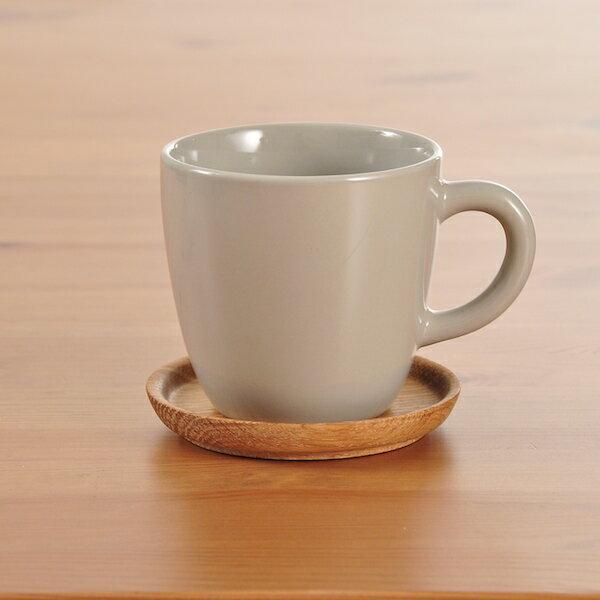 ロールストランド(ホガナス・ケラミック) コーヒーマグ 330ml & ウッドソーサー ペブルグレー グロッシー