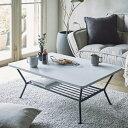 テーブル ローテーブル センターテーブル 棚付き 高さ35cm 幅90 ホワイト 白 収納 黒 可愛い 大きめ 奥行60 アイアン …