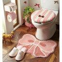 【セット商品】 トイレ2点セット(マット&特殊フタカバー)/ピンク