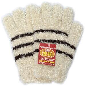 イチーナ 【日本製・婦人用手袋】 モール ボーダー 発熱 (6574) 【メール便】