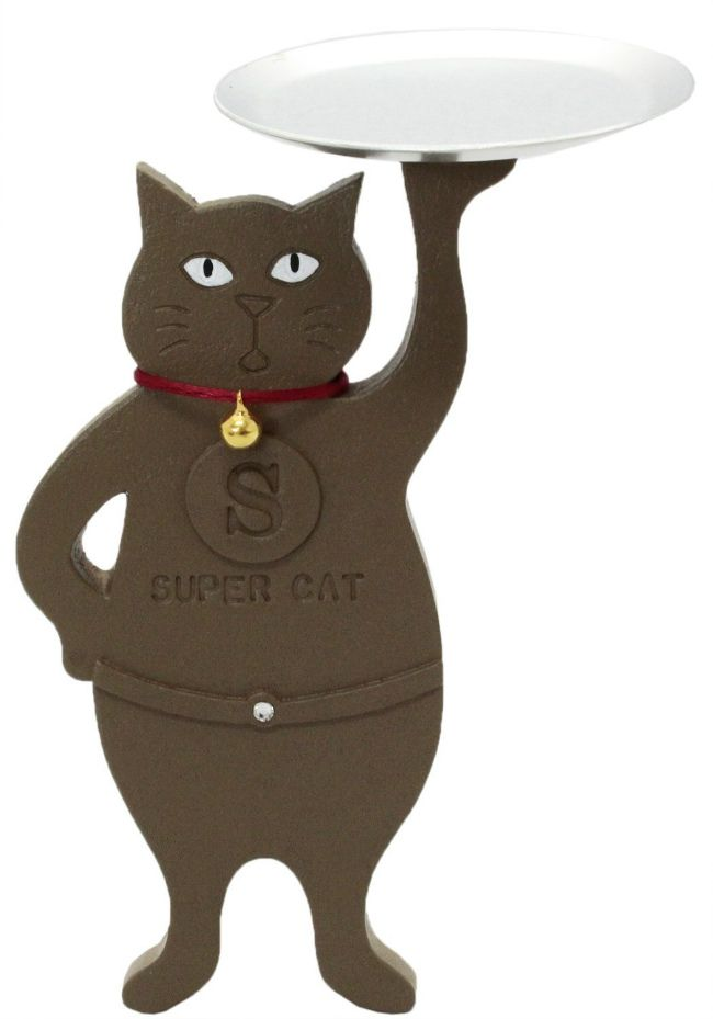 【ティーズコレクション】小物入れ ネコ スーパーキャット 立ち トレー ブラウン 奥行約7×幅10.5×高さ14.7cm (TR-27 BR)