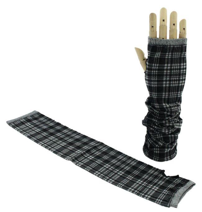 【イチーナ】【紫外線対策に】 「むれ」を軽減!東レの高吸放湿繊維「キューブ」使用 UVケア手袋 アームスリーブ チェック柄 日本製 ブラック(9651) 【メール便送料無料】