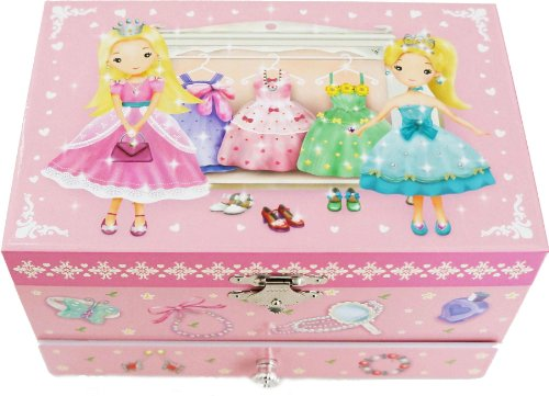 【【Lily&Ally】 ラッピング済みでクリスマス 誕生日 プレゼントにぴったり / リリーアンドアリー プリンセス オルゴール付き キッズジュエリーボックス 宝石箱(曲目:虹の彼方に Over the Rainbow) Lily & Ally Princess Musical Children's Jewelry Box】