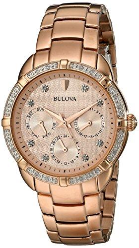 【送料無料】【BULOVA Diamond Multi-Function Rose Gold Tone 98R178】 b00f63kiks