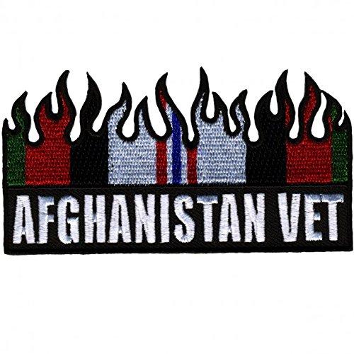 【送料無料】【Hot Leathers AFGHANISTAN VET FLAG with Fire Flames Iron-On / Saw-On Heat Sealed Backing Rayon PATCH - 4 x 2 】 b016zrc6jo