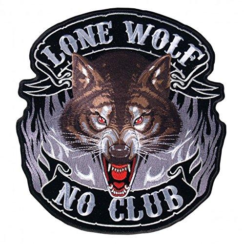 【送料無料】【Hot Leathers Lone Wolf NO CLUB with Flames High Quality Iron-On / Saw-On Rayon FULL FACE PATCH - 10 x 11 】 b016zrr1h6