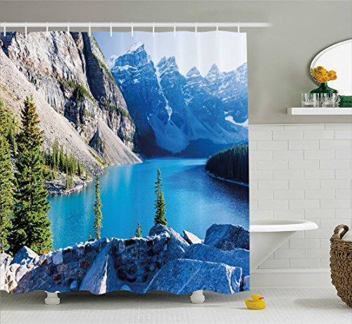 【Natureシャワーカーテンby Ambesonne、Moraine Lakeバンフ国立公園カナダ山Pines Valley of the Tenピーク、ファブリックバスルームDecorセットフック付き、ブルーグリーングレー 69 W By 70 L sc_32751】 b0721cyb8g