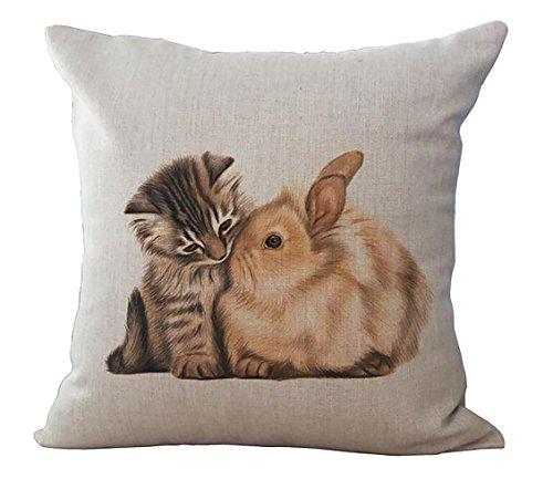 【Coo Me CatグラフィックRabbits and Cats Lazy Cat Printsハグ枕ケース車背もたれパッド部屋The Living Roomセット枕カバー18 x 18インチ1pcs 18 x 18-Inch ME-BZT-902】 b01mczedd2