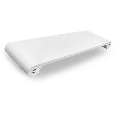 【Quirky Aluminium Smart Monitor Stand 「Speace Bar」White アルミニウム スマート モニター スタンド 「スペース・バー」 ホワイト 6ポート USB Hub キーボード収納 ホワイト】 b00kjgydai