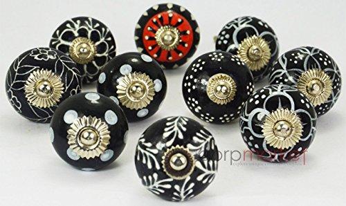 【Dorpmarket 10ピースセットホワイト&レッドonブラック色美しい設計セラミックドアノブハンドルキッチン引き出しPulls】 b0162gi4ai
