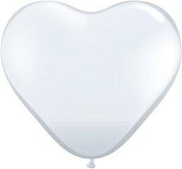 【ゴム風船 Qualatex ハート6インチ(直径15cm)ジュエルカラー ダイアモンドクリアー(半透明) 100個入り】 21HrINnaEVL b004xo0hz2