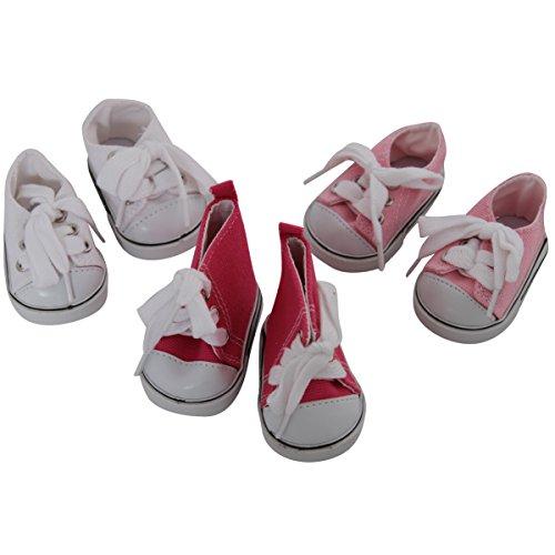 ☆春の特別企画☆エントリーで当店全品ポイント5倍!【Pink & White Set of 3 Doll Sneakers by Storybook Wishes [並行輸入品]】 41dla1fppQL b00e37bmda