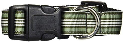 【Mirage Pet Products 125-007 MDGR Preppy Stripes Nylon Ribbon Collars Green - White Medium】 41FuWUfgZnL b0085exmlm