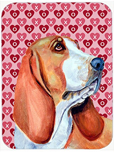 ☆春の特別企画☆エントリーで当店全品ポイント5倍!【Carolines Treasures LH9152LCB 15 x 12 in. Basset Hound Hearts Love and Valentines Day Portrait Glass Cutting Board - Large】 61stFsBLPSL b00h29yod6
