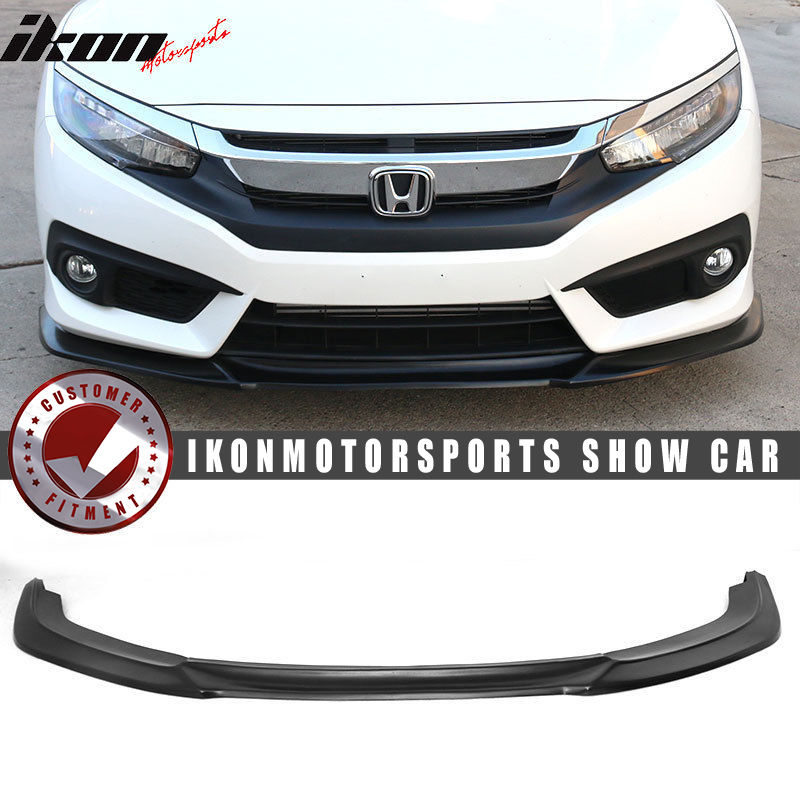 USパーツ 16-17ホンダシビックIKONオリジナルGTスタイルフロントリップスプリッター - UPDATED VERSION2 16-17 Honda Civic IKON Original GT style Front Lip Splitter - UPDATED VERSION2