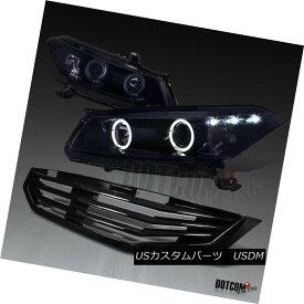 ヘッドライト For 2008-2010 Accord 2Dr Glossy Black Halo Projector Headlights+Mesh Hood Grille 2008?2010年のアコード2Dr光沢ブラックハロープロジェクターヘッドライト+メス hフードグリル