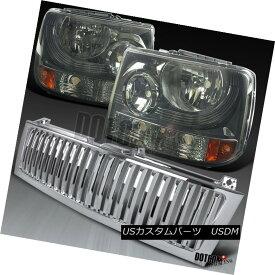 ヘッドライト 99-02 Silverado 1500/2500 Smoke Crystal Headlights+Chrome Bumper Grille 99-02 Silverado 1500/2500スモーククリスタルヘッドライト+ Chr omeバンパーグリル