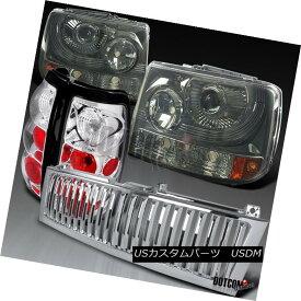 ヘッドライト 99-02 Silverado 1500 Smoke Projector Headlights+Chrome Grille+Clear Tail Lamps 99-02 Silverado 1500煙プロジェクターヘッドライト+ Chr omeグリル+クリアテールランプ