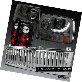 ヘッドライト 99-02 Chevy Silverado SMD LED Smoke Headlights+Chrome Grille+Black Tail Lamps 99-02 Chevy Silverado SMD LEDスモークヘッドライト+ Chr omeグリル+ブラックテールランプ