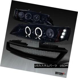 ヘッドライト For 1994-1997 Accord Glossy Black LED Halo Projector Headlights+Mesh Hood Grille 1994-1997年Accord Glossy Black LED Haloプロジェクターヘッドライト+メス hフードグリル