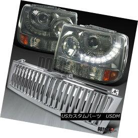 ヘッドライト 99-02 Silverado 1500 Smoke SMD DRL LED Projector Headlights+Chrome Hood Grille 99-02 Silverado 1500 Smoke SMD DRL LEDプロジェクターヘッドライト+ Chr omeフードグリル