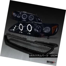 ヘッドライト For 1998-2002 Accord 2Dr Glossy Black Halo Projector Headlights+Mesh Hood Grille 1998?2002年Accord 2Dr Glossy Black Haloプロジェクターヘッドライト+メス hフードグリル