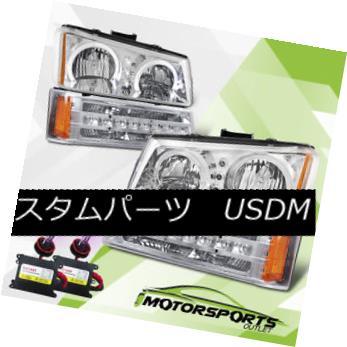 ヘッドライト 03-06 Silverado/03-05 Avalanche Halo Clear Headlights/LED Bumper/12000K Slim HID 03-06 Silverado / 03-0 5雪崩ハロークリアヘッドライト/ LEDバンパー/ 12000KスリムHID
