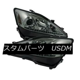 ヘッドライト Lexus 06-10 IS250 IS350 Smoke DRL Bright White LED Projector Headlights Set レクサス06-10 IS250 IS350スモークDRLブライトホワイトLEDプロジェクターヘッドライトセット